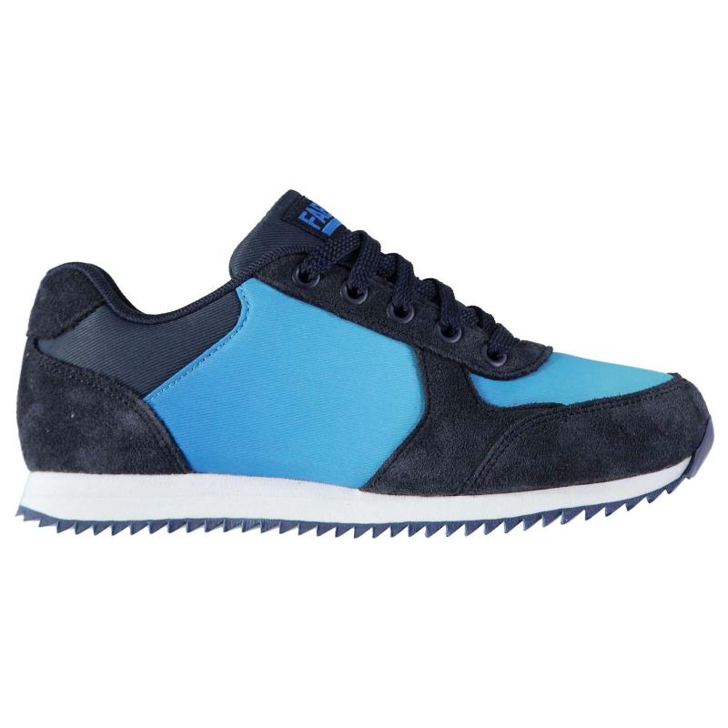 Fabric Retro Runner Childs Trainers Blue/Silver