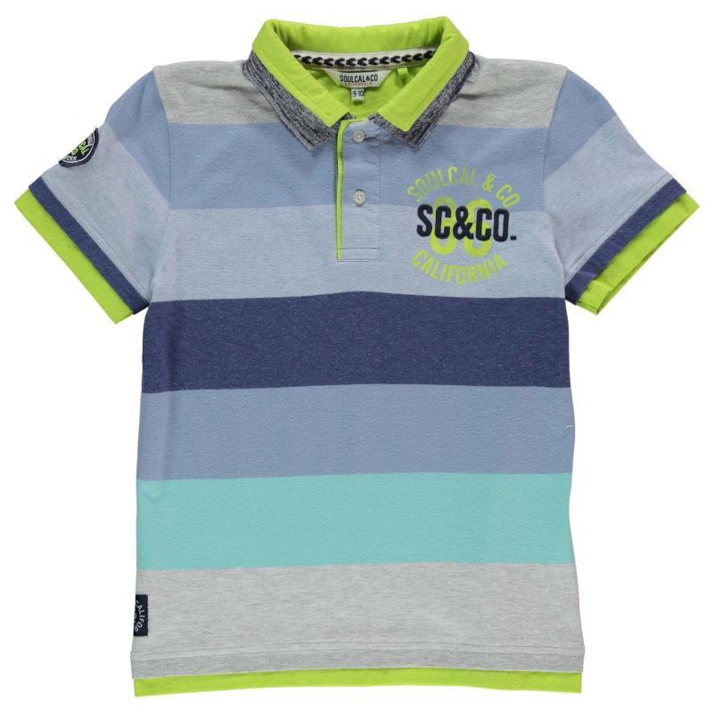 SoulCal Double Collar Polo Shirt Junior Boys Grey/Blue/Lime
