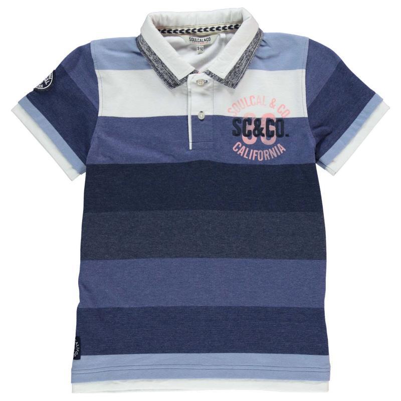 SoulCal Double Collar Polo Shirt Junior Boys Blue/Pink