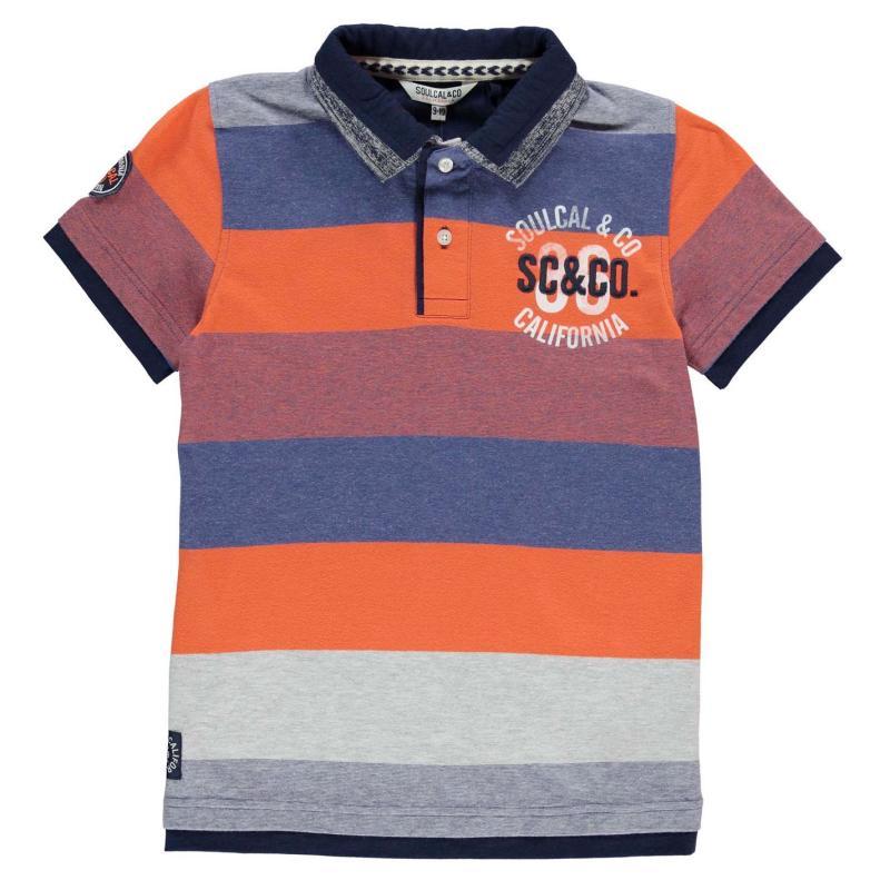 SoulCal Double Collar Polo Shirt Junior Boys Navy/Orange