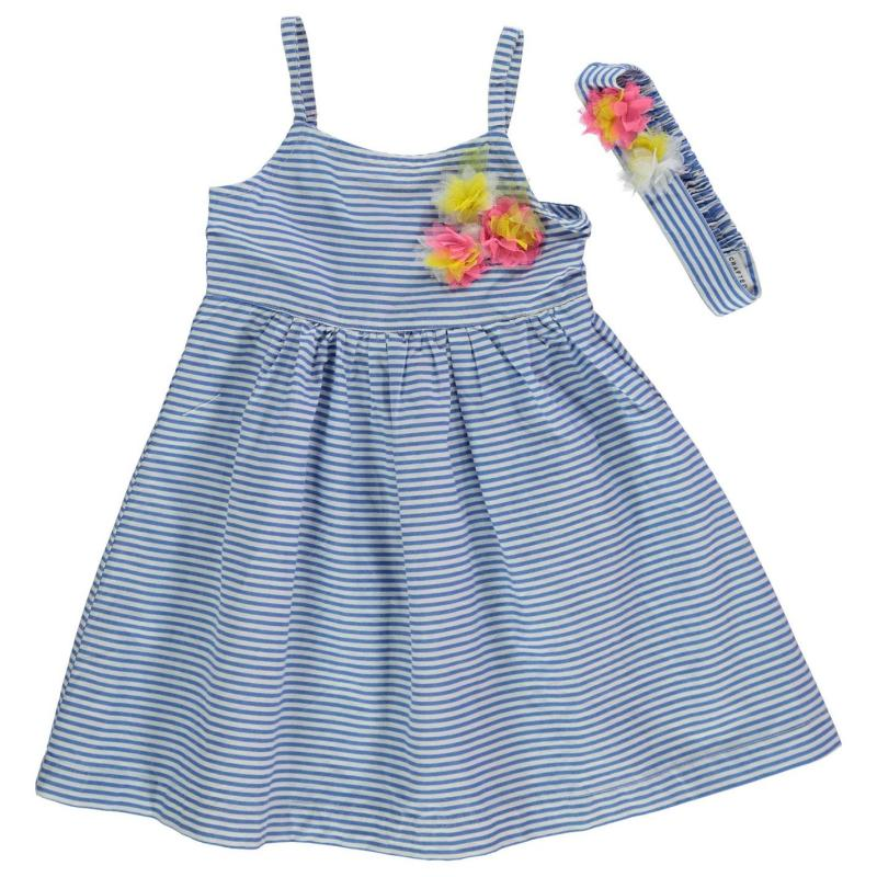 Crafted Dress and Headband Infant Girls Blue Stripe