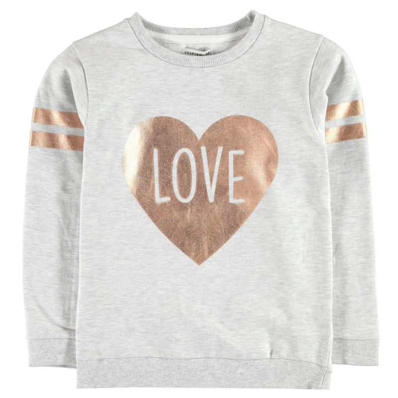 Crafted Foil Print Sweater Child Girls Grey
