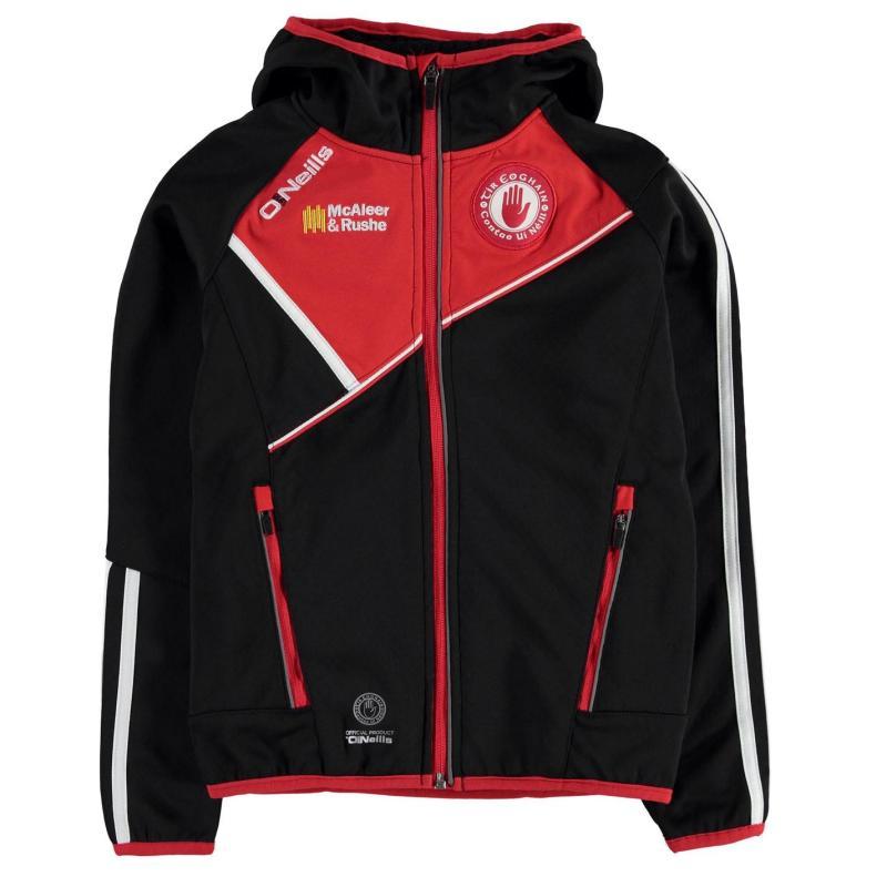 Mikina ONeills Tyrone GAA Conall Two Stripe Full Zip Embossed Hooded Jacket Junior Boys Black/Red/Wht