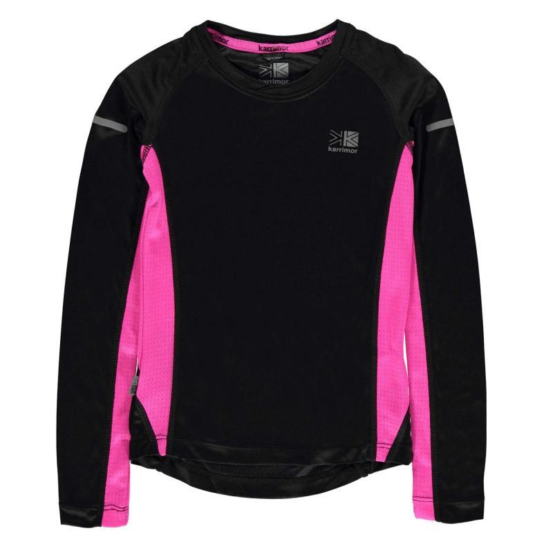Karrimor Long Sleeved Running Top Girls Black/Pink