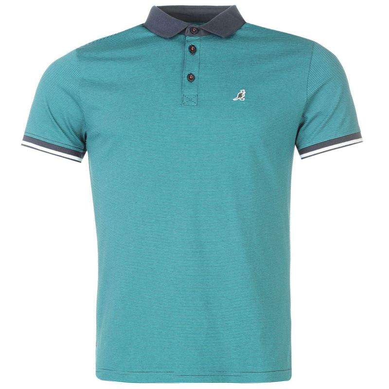 Kangol Pinstripe Polo Shirt Mens Navy/Teal