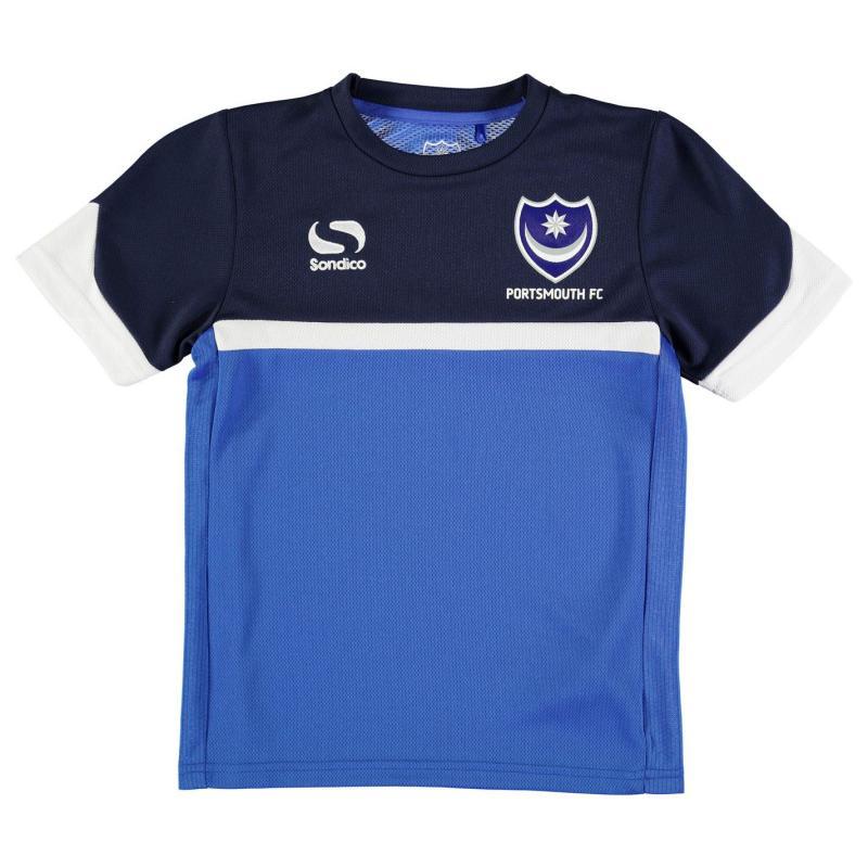 Tričko Sondico Portsmouth FC Poly Training T Shirt Junior Boys Royal/Navy