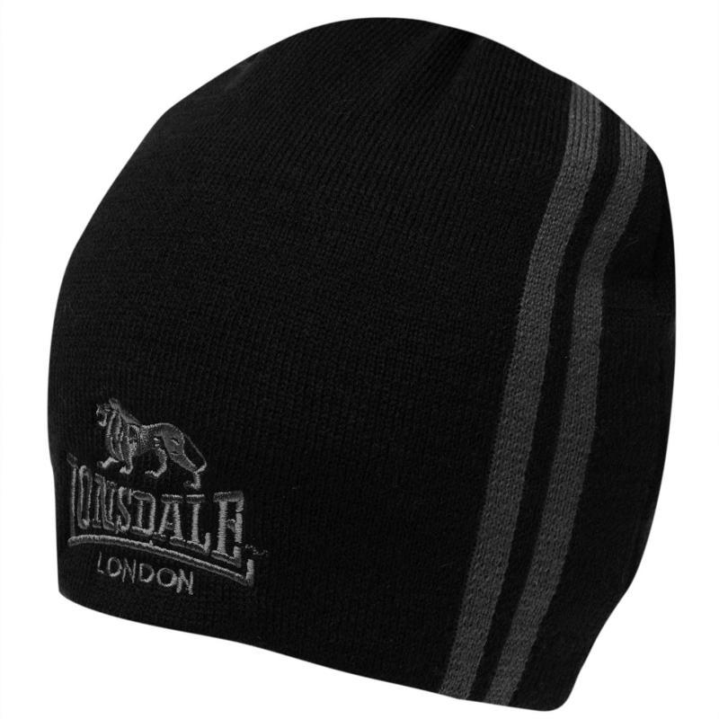 Lonsdale Two Stripe Hat Mens Black