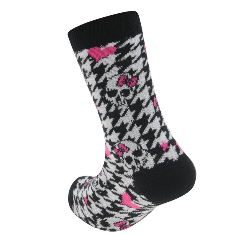 Miss Fiori Skull Dress Socks Child Black/Pink/Wh
