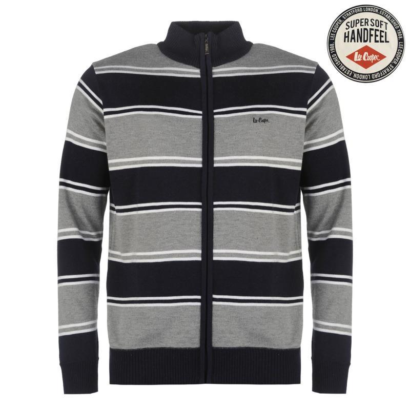 Lee Cooper Knitted Zip Top Sweater Mens Navy/Grey M