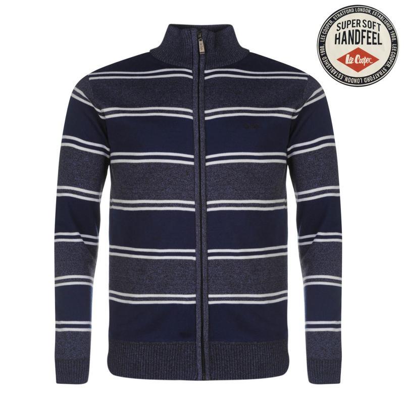 Lee Cooper Knitted Zip Top Sweater Mens Blu M/Mid Blue