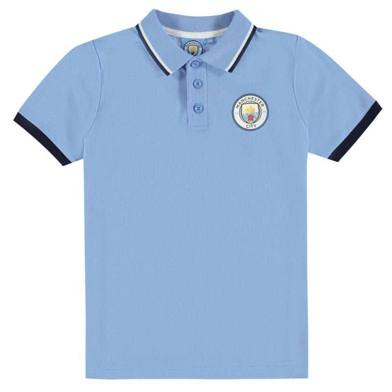 Source Lab Manchester City FC Polo Shirt Junior Boys Sky