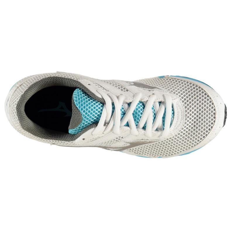 Mizuno Spark Running Shoes Junior Girls White/Silv/Blue