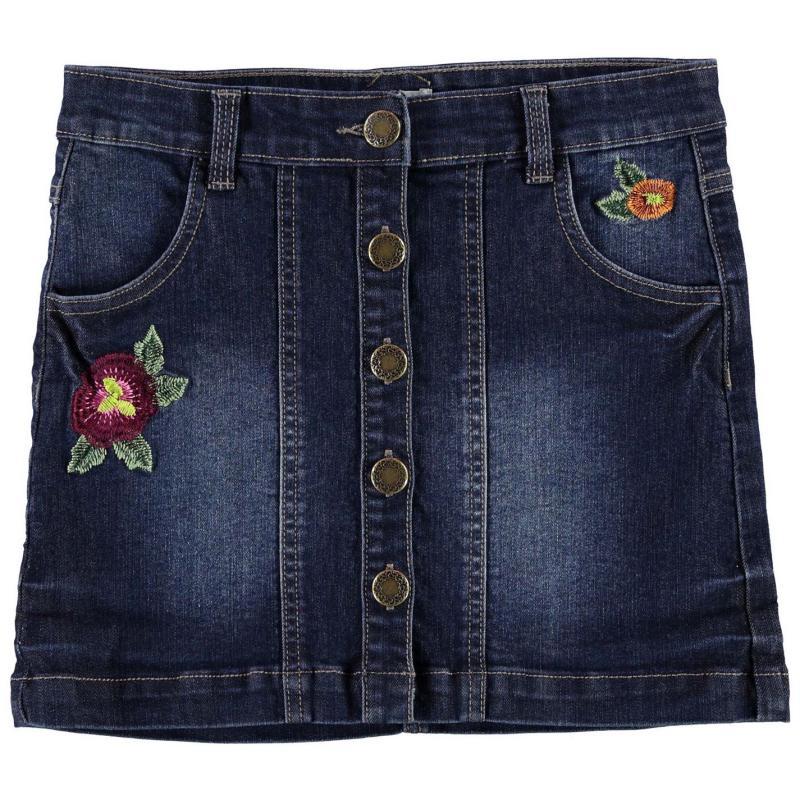 Šaty Crafted Embroidered Denim Skirt Child Girls Denim
