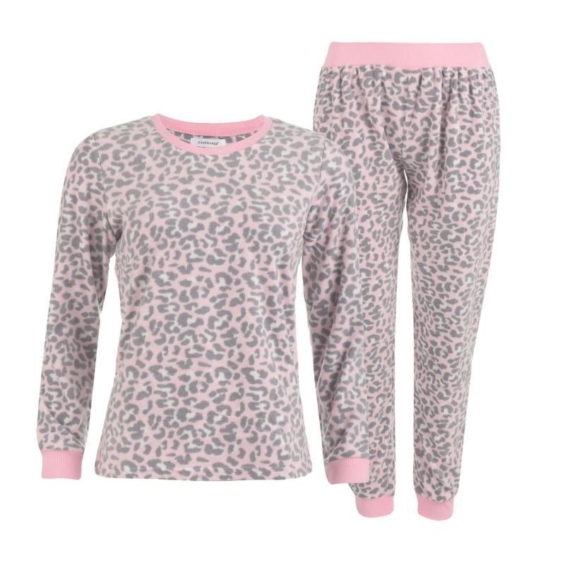 Pyžama Rock and Rags Printed Fleece Pyjamas Pink