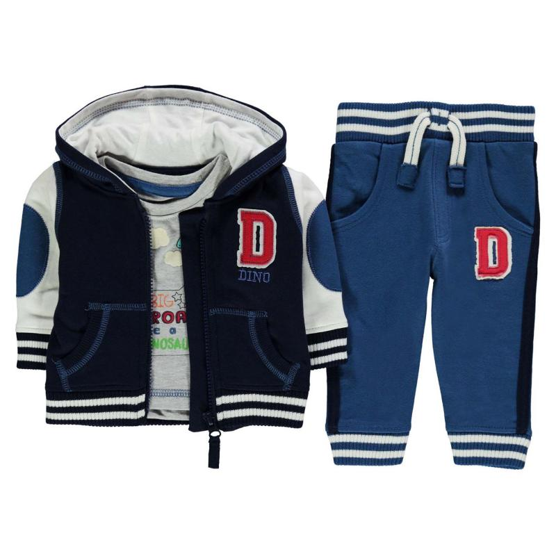 Tepláky Crafted 3 Piece Varsity Set Baby Boys Navy/blue Dino