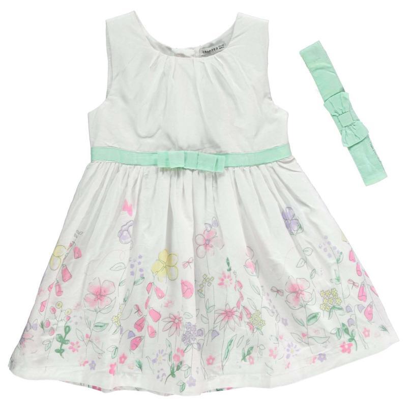 Šaty Crafted Border Print Dress Set Infant Girls Floral Border