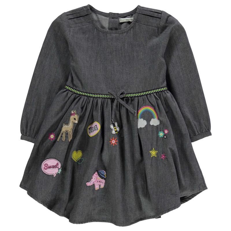 Šaty Crafted Denim Dress Infant Girls Grey Denim