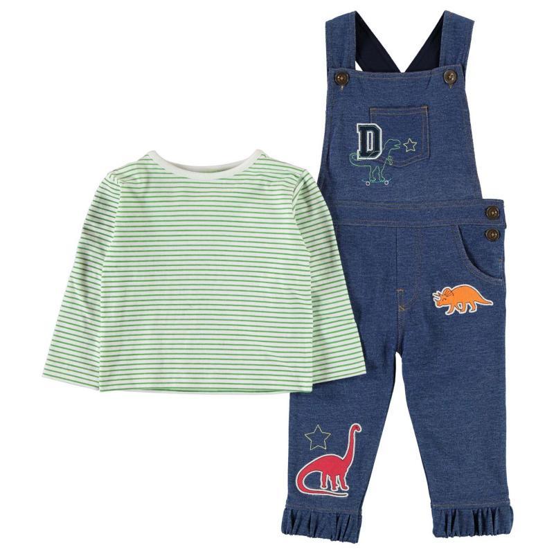 Tepláky Crafted Dungaree Set Baby Boys Denim Dino