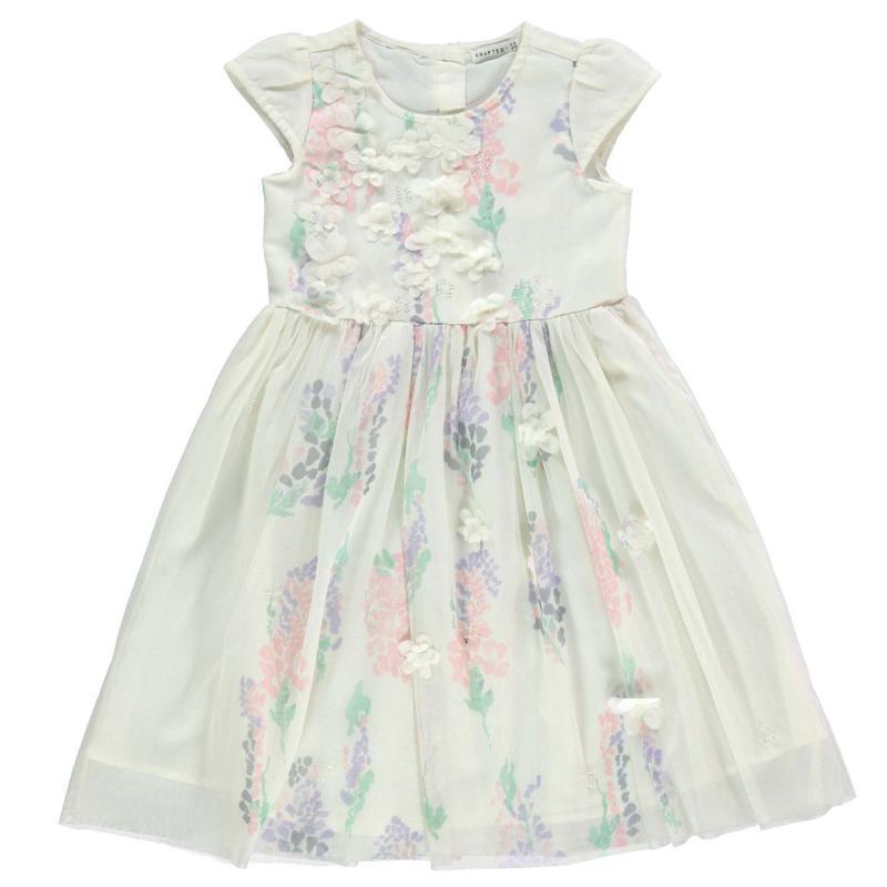 Šaty Crafted Flower Occasion Dress Child Girls Cream Floral