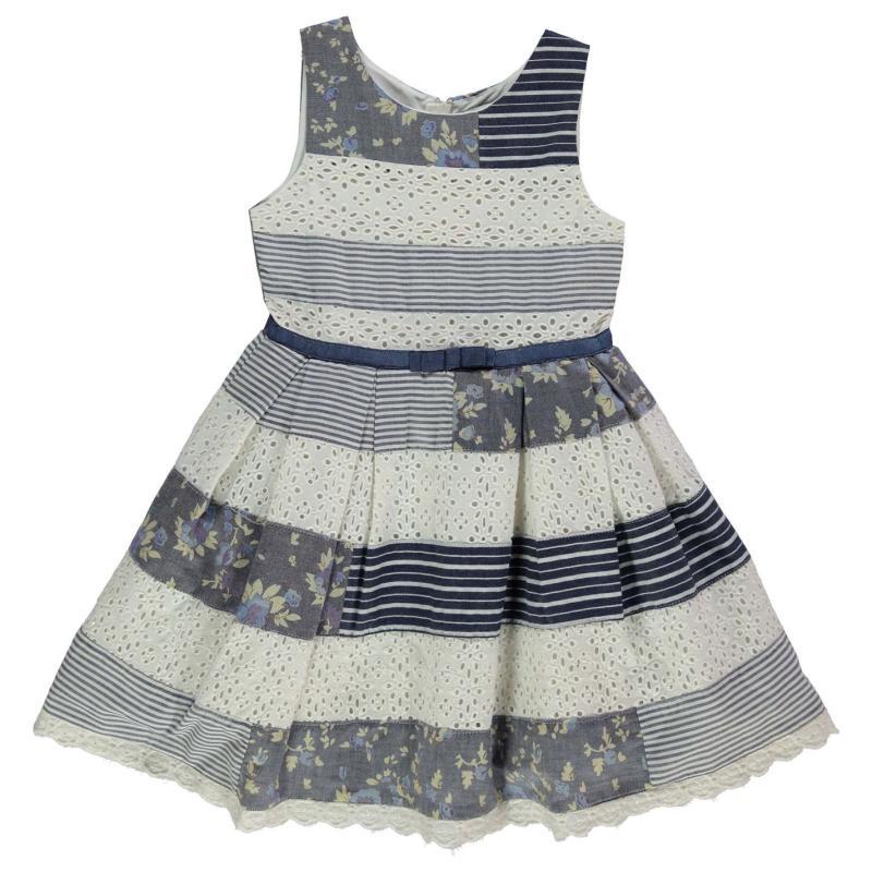 Šaty Crafted Patchwork Dress Infant Girls Blue Patchwork