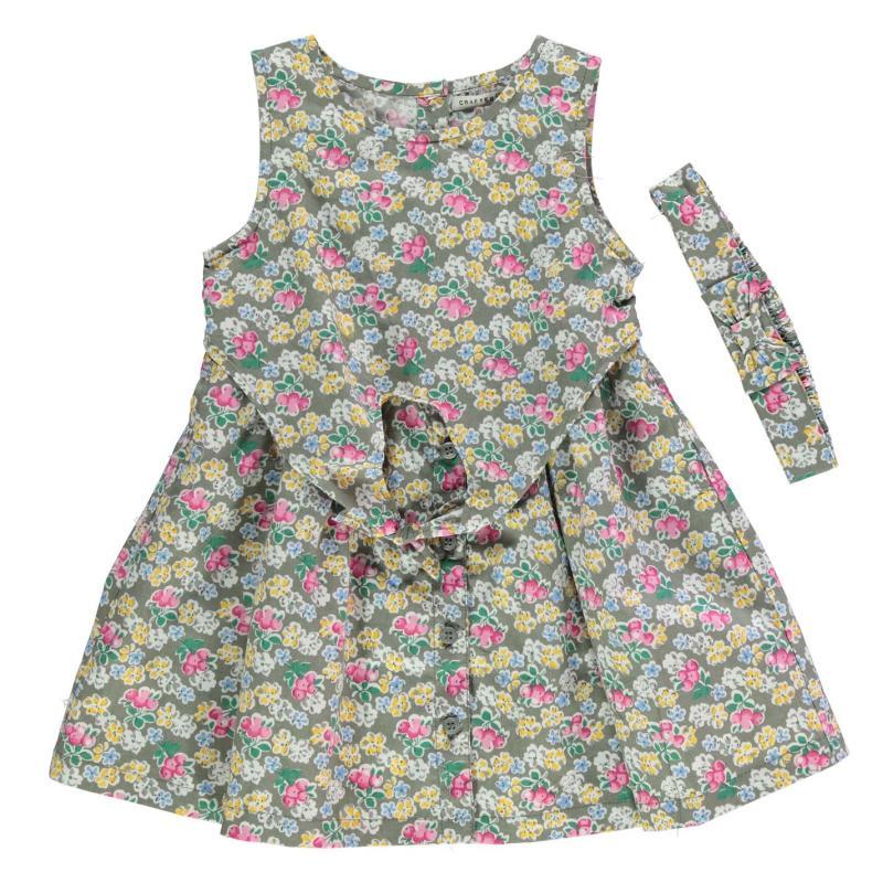 Šaty Crafted Tie Front Dress Set Infant Girls Khaki Floral