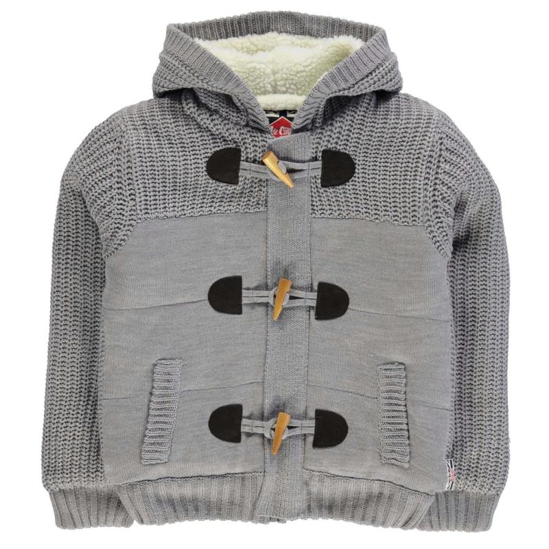 Lee Cooper Bubble Lined Knit Jacket Junior Boys Grey Marl