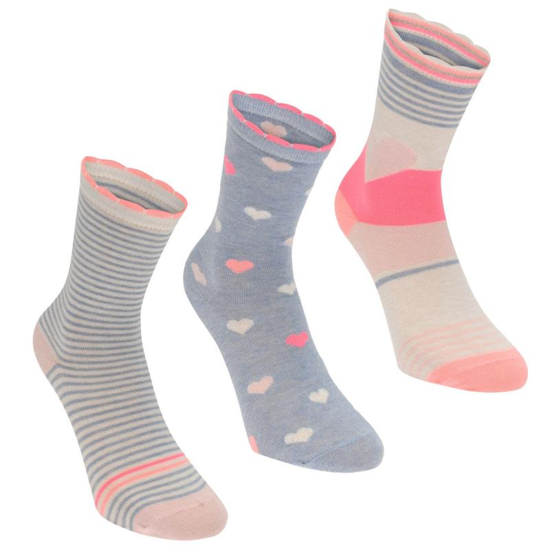 Crafted YG 3pk DesignSock Ch73 Light Blue pink