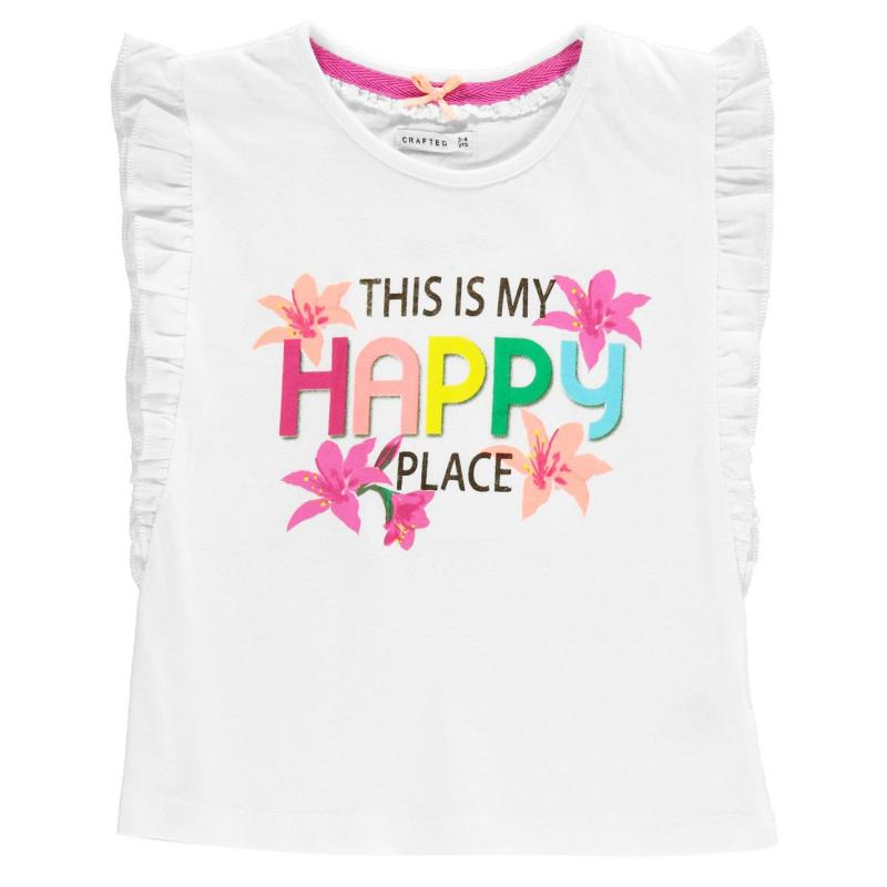 Crafted Happy Frill T Shirt Child Girls White